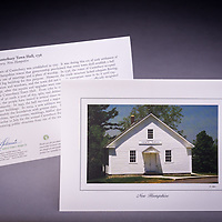 One of the oldest existing town halls in NH, originally built in 1736. <br /> <br /> Artemis Photo Greeting Cards featuring NH native flora and fauna and historic sites. The cards are made exclusively in NH made from 100% FSC recycled paper, manufactured with wind and water power, and are archival acid free paper. Each card includes details on the back about the image, including interesting anecdotes, historic facts, conservation status, and recipes.