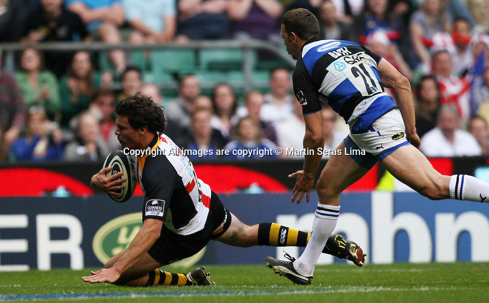 Jack Cuthbert scoring a try for Wasps- Guinness Premiership - London Wasps v Bath Rugby - Saturday 24 April 2010. Twickenham - London