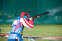 London, England, 21-04-12. Sebastian KUNTSCHIK (AUT) competes in the ISSF World Cup Skeet competition, Royal Artillery Barracks, London. Part of the London Prepares Olympic preparations.