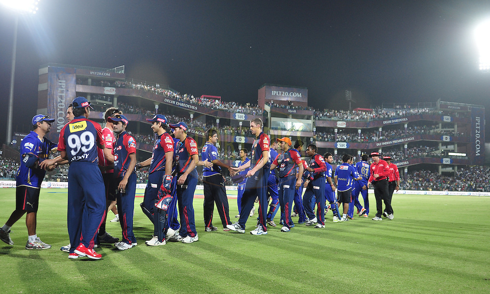 Delhi Daredevils and the Rajasthan Royals player shake hands after match during match 39 of the the Indian Premier League ( IPL) 2012  between The Delhi Daredevils and the Rajasthan Royals held at the Feroz Shah Kotla, Delhi on the 29th April 2012..Photo by Arjun Panwar/IPL/SPORTZPICS