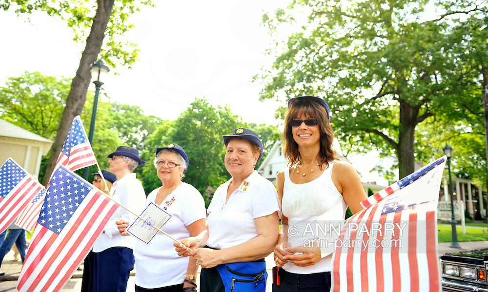 American Legion Auxiliary members - Margaret Beigelman, Bridee Tonn... - marching in Merrick Memorial Day Parade on May 28, 2012, on Long Island, New York, USA. America's war heroes are honored on this National Holiday.