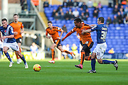 Wolverhampton Wanderers Nathan Byrne is challenged by Birmingham City's Paul Caddis during the Sky Bet Championship match between Birmingham City and Wolverhampton Wanderers at St Andrews, Birmingham, England on 31 October 2015. Photo by Shane Healey.
