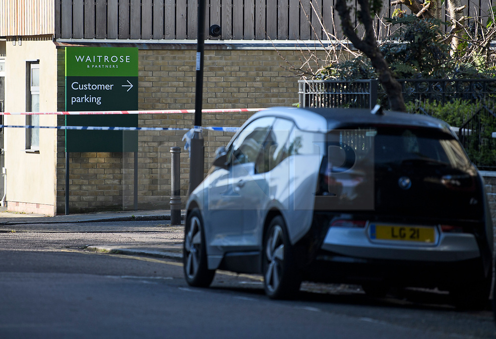© Licensed to London News Pictures. 12/05/2019. London, UK. The scene near Waitrose in Islington, North London, where a body was found in a wheelie bin on Saturday afternoon. The discovery was made just a few hundred meters from the home of Labour Party leader Jeremy Corbyn. Detectives are now trying to identify the man. Photo credit: Ben Cawthra/LNP