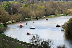 © Licensed to London News Pictures. 17/04/2016.  Gloriana rounds the bend at Richmond Hill. The Queen's Row Barge Gloriana has undertaken its first engagement of 2016 with the Tudor Pull from Hampton Court Palace to the Tower of London. The popular vessel was accompanies by a small flotilla of traditional Thames cutters for the re-enactment of the ancient ritual. The Tudor Pull took place in glorious sunny weather on the Thames today. Credit: Rob Powell/LNP