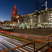 Two Light Tower construction, highway traffic, and downtown Kansas City, Missouri