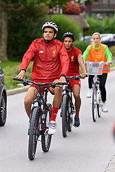 ROTTACH-EGERN, GERMANY - Thursday, July 27, 2017: Liverpool's Dominic Solanke cycles back from training from the Seehotel Uberfahrt on the banks of Lake Tegernsee on day two of their preseason training camp in Germany. (Pic by David Rawcliffe/Propaganda)
