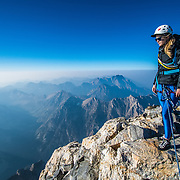 Noelle Synder climbs the Grand Teton via the Owen Spalding route in the Grand Teton National Park, Wyoming