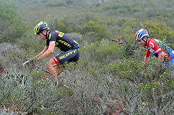 WORCESTER, SOUTH AFRICA - MARCH 21: From left, Andri Frischnecht and Michiel van der Heijden during stage three's 122km from Robertson to Worcester on March 21, 2018 in Cape Town, South Africa. Mountain bikers from across South Africa and internationally gather to compete in the 2018 ABSA Cape Epic, racing 8 days and 658km across the Western Cape with an accumulated 13 530m of climbing ascent, often referred to as the 'untamed race' the Cape Epic is said to be the toughest mountain bike event in the world. (Photo by Dino Lloyd)