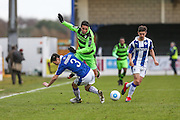 Forest Green Rovers Fabien Robert(26) is tackled by Chester's Evan Horwood(3) during the FA Trophy 2nd round match between Chester FC and Forest Green Rovers at the Deva Stadium, Chester, United Kingdom on 14 January 2017. Photo by Shane Healey.