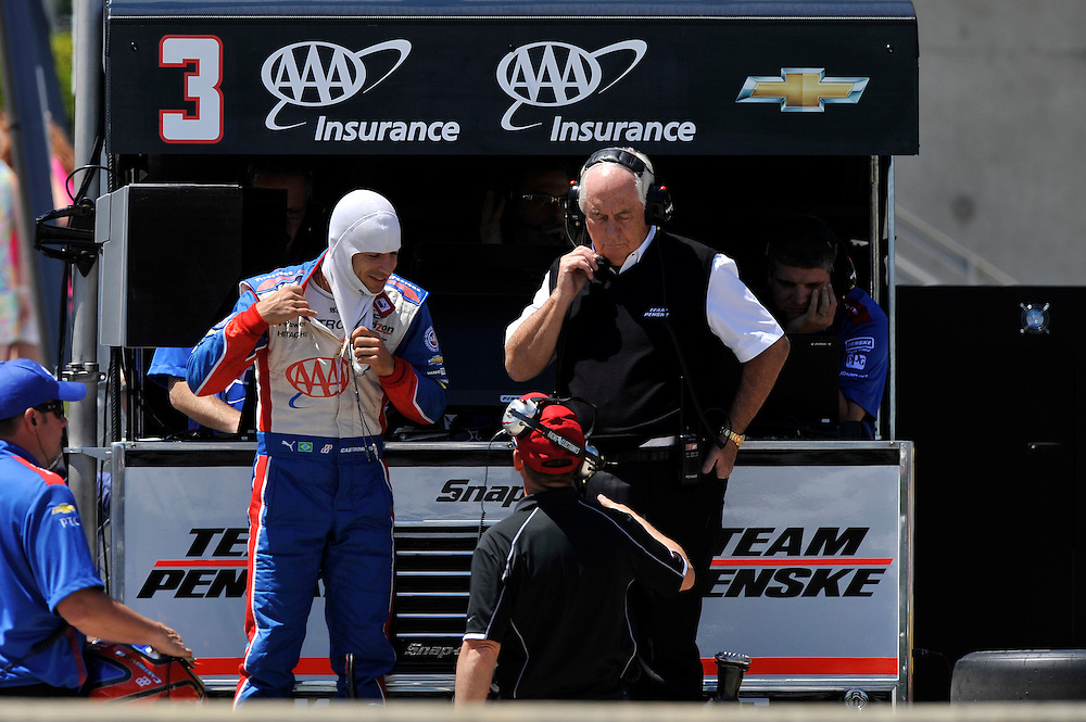 25-27 April, 2014, Birmingham, Alabama USA<br /> Helio Castroneves, Roger Penske<br /> &copy;2014 Scott R LePage <br /> LAT Photo USA