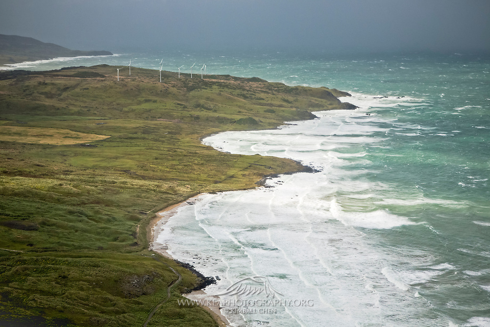 Harnessing the coastal winds, Flat Hill Wind Farm generates power for thousands of homes in Bluff, Southland, New Zealand
