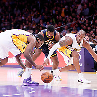 04 January 2014: Indiana Pacers forward Solomon Hill (44) vies for the loose ball with Los Angeles Lakers guard Kobe Bryant (24) and Los Angeles Lakers forward Ed Davis (21) during the Los Angeles Lakers 88-87 victory over the Indiana Pacers, at the Staples Center, Los Angeles, California, USA.