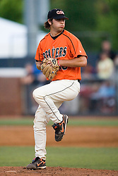 Oregon State Beavers P Mark Grbavac (18) pitches in relief against Virginia.  The Oregon State Beavers defeated the Virginia Cavaliers 5-3 in Game 6 of the NCAA World Series Charlottesville Regional held at Davenport Field in Charlottesville, VA on June 4, 2007.