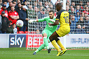 Nottingham Forest Goalkeeper Jordan Smith clears during the EFL Sky Bet Championship match between Nottingham Forest and Burton Albion at the City Ground, Nottingham, England on 21 October 2017. Photo by John Potts.