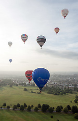 © Licensed to London News Pictures. 05/08/2016. Bristol, UK.  Press preview morning balloon launch from the Bristol Downs for the Bristol International Balloon Fiesta which takes place from 18 - 21 August. Photo credit : Simon Chapman/LNP