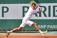 Jerzy Janowicz from Poland competes in men's single first round while Day First during The French Open 2014 at Roland Garros Tennis Club in Paris, France.<br /> <br /> France, Paris, May 25, 2014<br /> <br /> Picture also available in RAW (NEF) or TIFF format on special request.<br /> <br /> For editorial use only. Any commercial or promotional use requires permission.<br /> <br /> Mandatory credit:<br /> Photo by © Adam Nurkiewicz / Mediasport