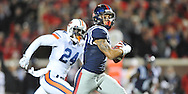 Ole Miss' tight end Evan Engram (17) scores against Auburn Tigers' defensive back Derrick Moncrief (24) at Vaught-Hemingway Stadium in Oxford, Miss. on Saturday, November 1, 2014. Auburn won 35-31.(AP Photo/Oxford Eagle, Bruce Newman)