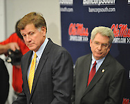 Mississippi athletic director Pete Boone (left) speaks at a press conference as Chancellor Dan Jones listens at the IPF at the University of Mississippi in Oxford, Miss. on Monday, November 7, 2011. Boone announced that head football coach Houston Nutt will not be retained following the season. Boone also announced that he will step down as athletic director by December 31, 2012.