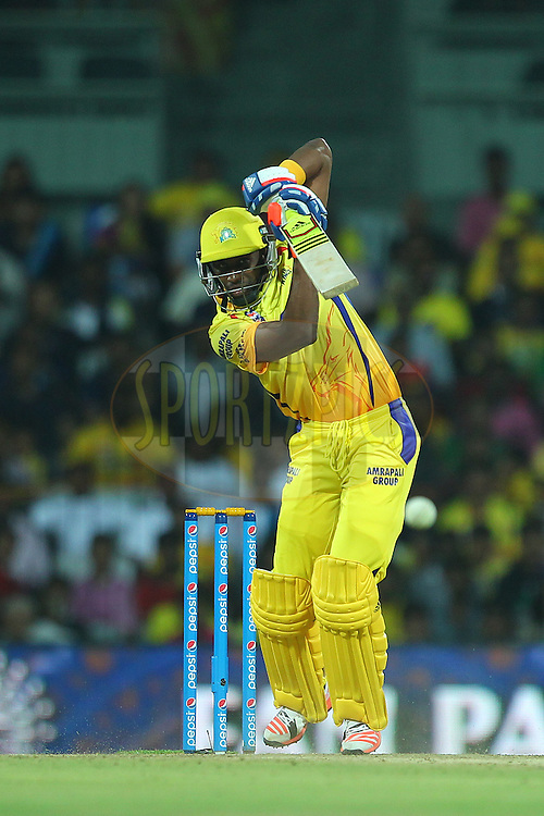 Dwayne Bravo of the Chennai Superkings  during match 47 of the Pepsi IPL 2015 (Indian Premier League) between The Chennai Superkings and The Rajasthan Royals held at the M. A. Chidambaram Stadium, Chennai Stadium in Chennai, India on the 10th May 2015.<br /> <br /> Photo by:  Ron Gaunt / SPORTZPICS / IPL