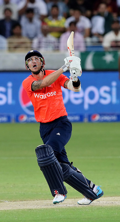 PICTURE BY MARK GREEN/SWPIX.COM  Pakistan v England 1st T20, Dubai Internayional Stadium, UAE, 26/11/15 <br /> England's Alex Hale skes the shot from which he was caught for 8
