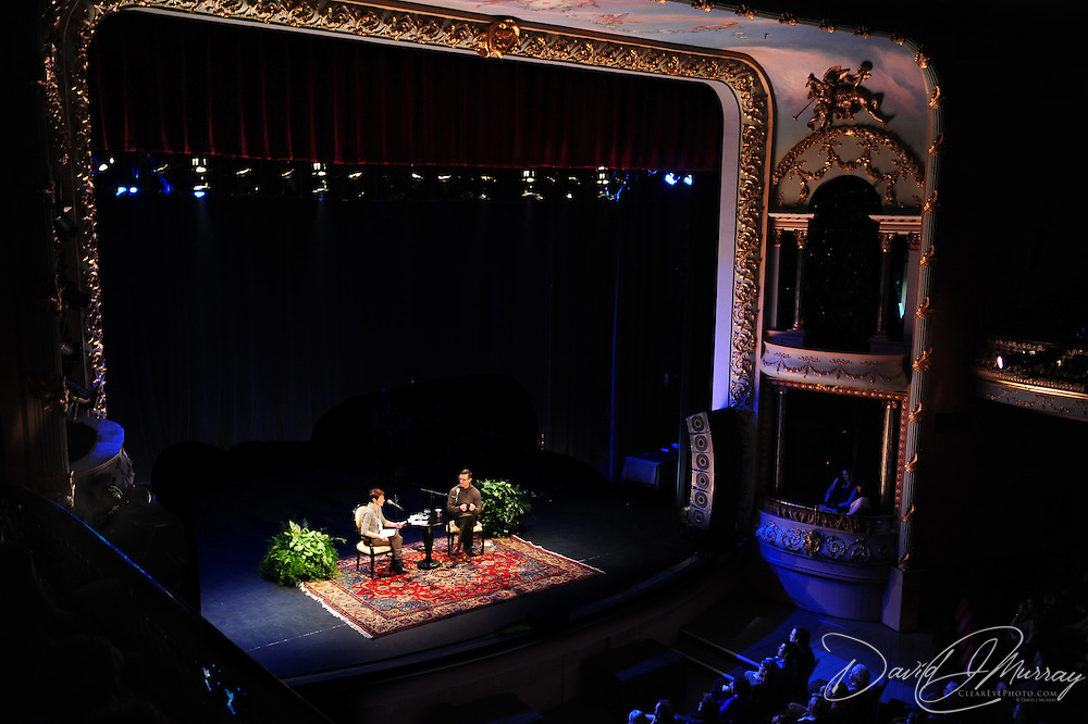 Virginia Prescott of NHPR interviews Chuck Palahniuk on stage at The Music Hall in Portsmouth, NH. Nov. 3, 2011