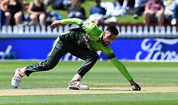 Pakistan's Mohammad Amir fields off his own bowling against New Zealand in the first one day cricket international at the Basin Reserve, Wellington, New Zealand, Saturday, January 06, 2018. Credit:SNPA / Ross Setford  **NO ARCHIVING**