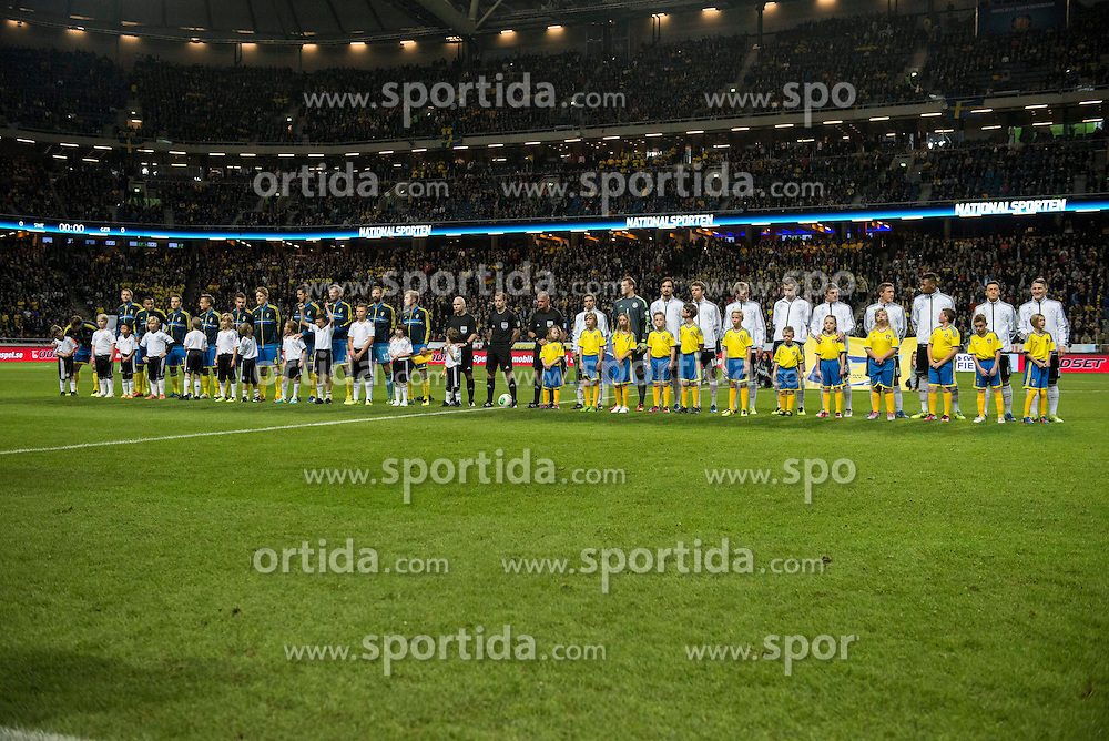 15.10.2013, Friends Arena, Stockholm, SWE, FIFA WM Qualifikation, Schweden vs Deutschland, Gruppe C, im Bild  line up // during the FIFA World Cup Qualifier Group C Match between Sweden and Germany at the Friends Arena, Stockholm, Sweden on 2013/10/15. EXPA Pictures � 2013, PhotoCredit: EXPA/ PicAgency Skycam/ Peter Werner<br /> <br /> ***** ATTENTION - OUT OF SWE *****