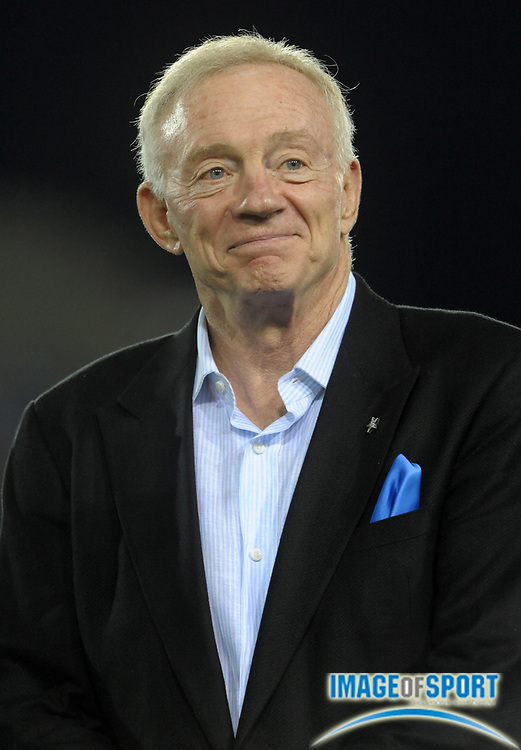 Aug 8, 2010; Canton, OH, USA; Dallas Cowboys owner Jerry Jones on the sidelines during the preseason game against the Cincinnati Bengals at Fawcett Stadium. Photo by Image of Sport
