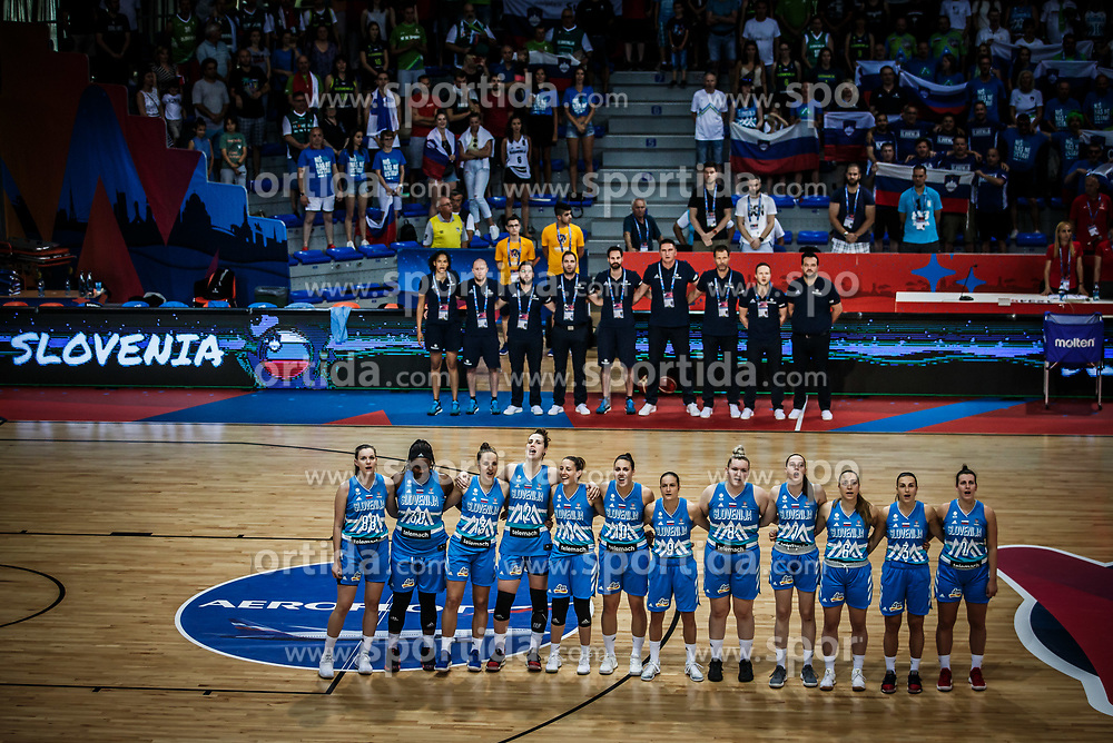 Team Slovenia listening to the National anthem during basketball match between Women National teams of Italy and Slovenia in Group phase of Women's Eurobasket 2019, on June 30, 2019 in Sports Center Cair, Nis, Serbia. Photo by Vid Ponikvar / Sportida