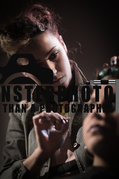 02/12/12 West Chester PA: Hairstylist Gabrielle Falco from RICHARD NICHOLAS studios in Philadelphia working on model Jacqueline Rizzo hair during Open Chair 11 Sunday, Feb. 12, 2012 at The Note in West Chester Pennsylvania...Special to Monsterphoto/SAQUAN STIMPSON