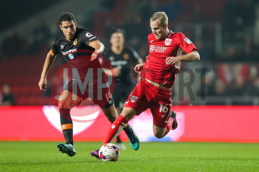 Gustav Engvall of Bristol City is challenged by Jake Livermore of Hull City - Rogan Thomson/JMP - 25/10/2016 - FOOTBALL - Ashton Gate Stadium - Bristol, England - Bristol City v Hull CIty - EFL Cup Fourth Round.