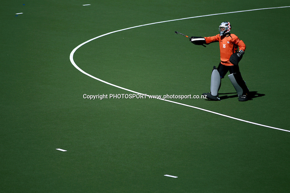 Korea's Kim Jae Hyeon orders the backline. Black Sticks Men vs Korea home test series, Lloyd Elsmore Hockey Stadium, Auckland, New Zealand. Saturday 11th February  2012. Photo: Anthony Au-Yeung / photosport.co.nz