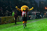 Exeter City mascot Grecian the Lion celebrates at full time after a 2-0 win over Grimsby Town during the EFL Sky Bet League 2 match between Exeter City and Grimsby Town FC at St James' Park, Exeter, England on 11 November 2017. Photo by Graham Hunt.