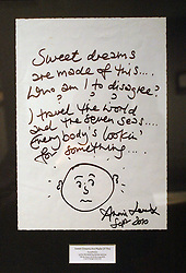 (c) London News Pictures. 06/12/2010. Pictured:  A part set of handwritten lyrics for the Eurythmics song 'Sweet Dreams' written by Annie Lennox. Lyrics penned by famous songwriters including Sir Paul McCartney, Gary Barlow, Paul Weller and Annie Lennox go on display before the Bonhams' Entertainment Memorabilia Auction on the 15th December with proceeds going to the Teenage Cancer Trust.  Picture caption should read Will Oliver/London News Pictures. .