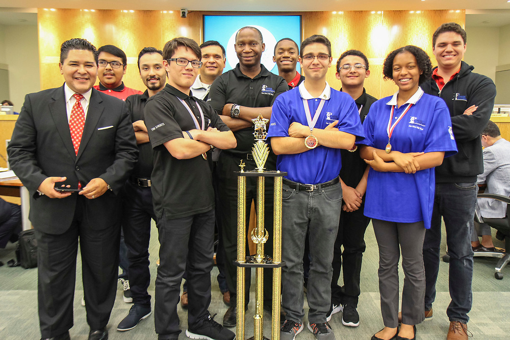 Members of the Chavez High School Chess Team are recognized during a Houston ISD Board of Trustees meeting, June 8, 2017.