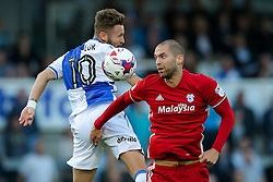 Matthew Connolly of Cardiff City is challenged by Matt Taylor of Bristol Rovers - Rogan Thomson/JMP - 11/08/2017 - FOOTBALL - Memorial Stadium - Bristol, England - Bristol Rovers v Cardiff City - EFL Cup First Round.