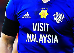 Cardiff players wear shirts with a daffodil on the chest, in memory of Emiliano Sala who died in a plane crash, during the Premier League match at St Mary's Stadium, Southampton