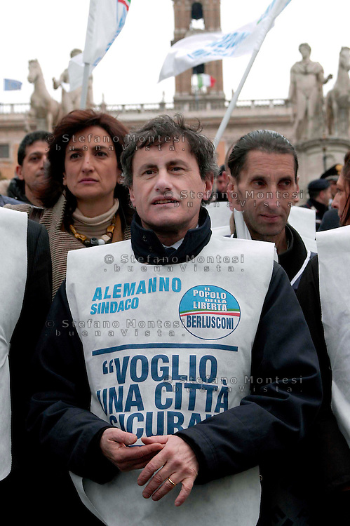 "Rome   April 4  2007.Demonstration for the security Of the People Of the Liberties' in Capitol.The mayor of Rome Gianni Alemanno   .The bib is written ""I want a sure city"""