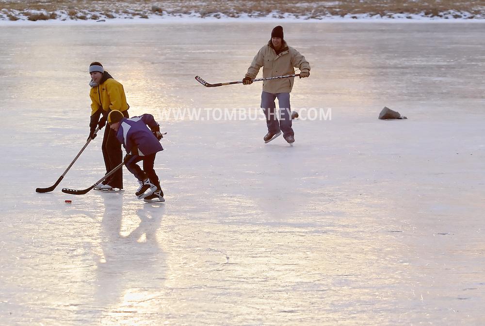 Monroe, N.Y. - People play ice hockey on the Mill Pond  on Feb. 11, 2007.
