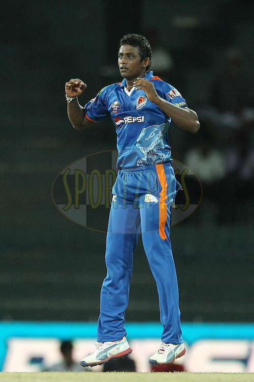 Ajantha Mendis during match 21 of the Sri Lankan Premier League between Uva Next and Nagenahiras held at the Premadasa Stadium in Colombo, Sri Lanka on the 27th August 2012. .Photo by Ron Gaunt/SPORTZPICS/SLPL