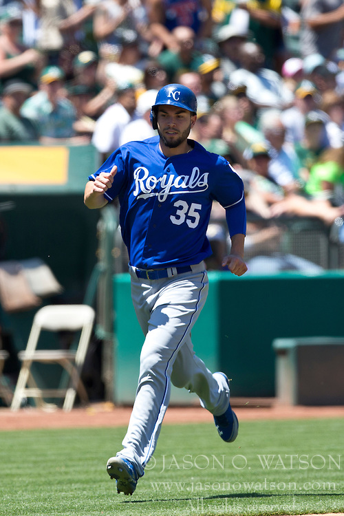 OAKLAND, CA - MAY 19: Eric Hosmer #35 of the Kansas City Royals runs to home plate to score a run against the Oakland Athletics during the fourth inning at O.co Coliseum on May 19, 2013 in Oakland, California. The Oakland Athletics defeated the Kansas City Royals 4-3. (Photo by Jason O. Watson/Getty Images) *** Local Caption *** Eric Hosmer