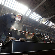 "LNER 4-6-2 No. 4472 ""Flying Scotsman"" 2012 at Riley's works in Bury, during refurbishment for the National Railway Museum."