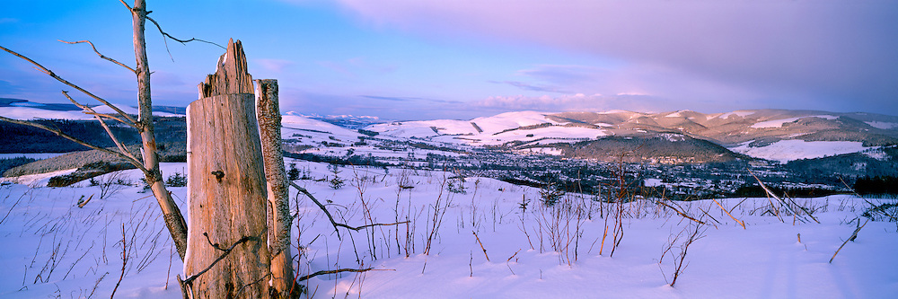 A winter scene from Cademuir overlooking Peebles in the Scottish Borders.