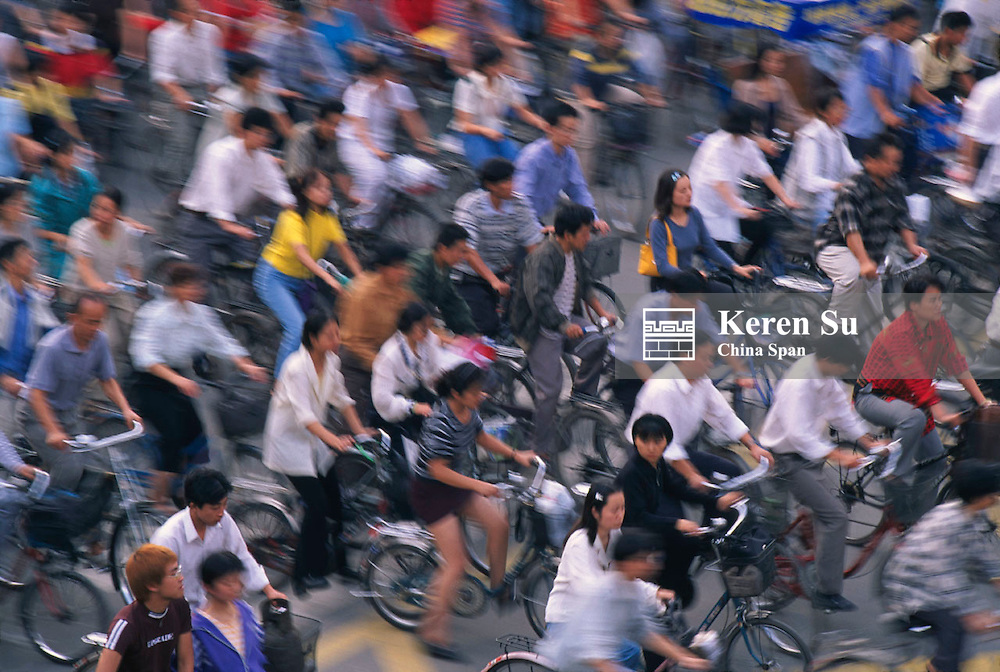 Bicycle crowds on the street, China