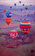 Hershey, Pennsylvania, hot air balloon launch, countryside, early morning.
