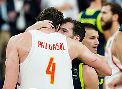 Pau Gasol of Spain and Goran Dragic of Slovenia after the basketball match between National Teams of Slovenia and Spain at Day 15 in Semifinal of the FIBA EuroBasket 2017 at Sinan Erdem Dome in Istanbul, Turkey on September 14, 2017. Photo by Vid Ponikvar / Sportida
