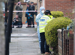 © Licensed to London News Pictures. 03/04/2018. London, UK. Police forensics attend the scene in Chalgrove Road, Tottenham, north London where a 17 year old girl was shot dead. The girl was found with a bullet wound and pronounced dead at the scene at 21:43 last night. Photo credit: Ben Cawthra/LNP
