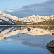 A panorama photo of Donner Lake near Truckee, California