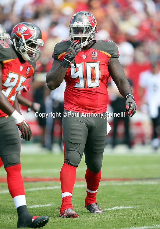 Tampa Bay Buccaneers defensive tackle Henry Melton (90) looks on during the 2015 week 14 regular season NFL football game against the New Orleans Saints on Sunday, Dec. 13, 2015 in Tampa, Fla. The Saints won the game 24-17. (©Paul Anthony Spinelli)