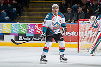 KELOWNA, CANADA - FEBRUARY 14: Madison Bowey #4 of Kelowna Rockets skates against the Moose Jaw Warriors on February 14, 2015 at Prospera Place in Kelowna, British Columbia, Canada.  (Photo by Marissa Baecker/Shoot the Breeze)  *** Local Caption *** Madison Bowey;